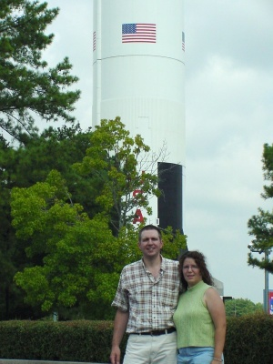 Mike and Jenny Jetzer with USSRC Saturn V replica