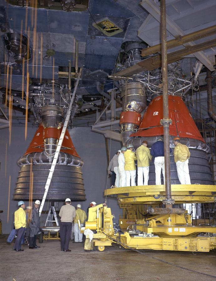 F-1 rocket engine G4049 engine vertical installer with S-IC-T
