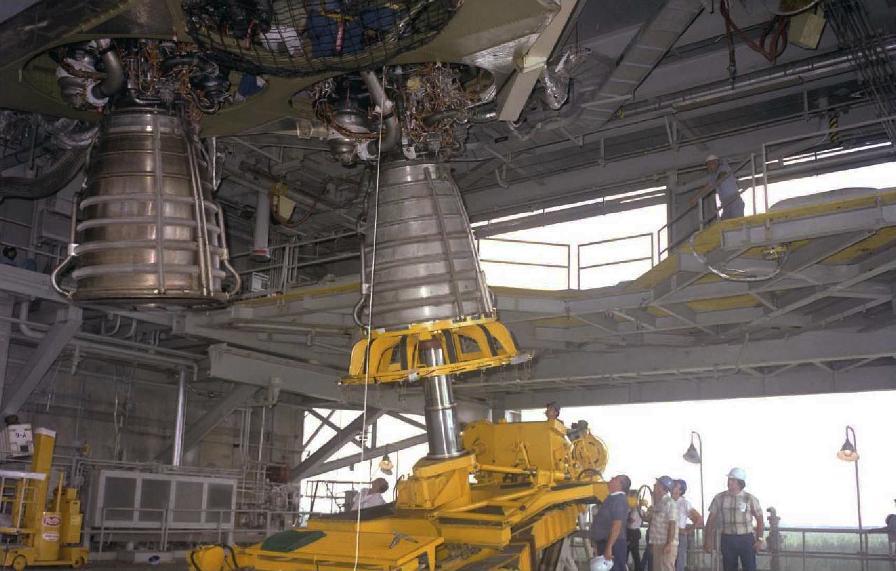 F-1 rocket engine G4049 engine vertical installer converted for Space Shuttle Main Engine (SSME) use