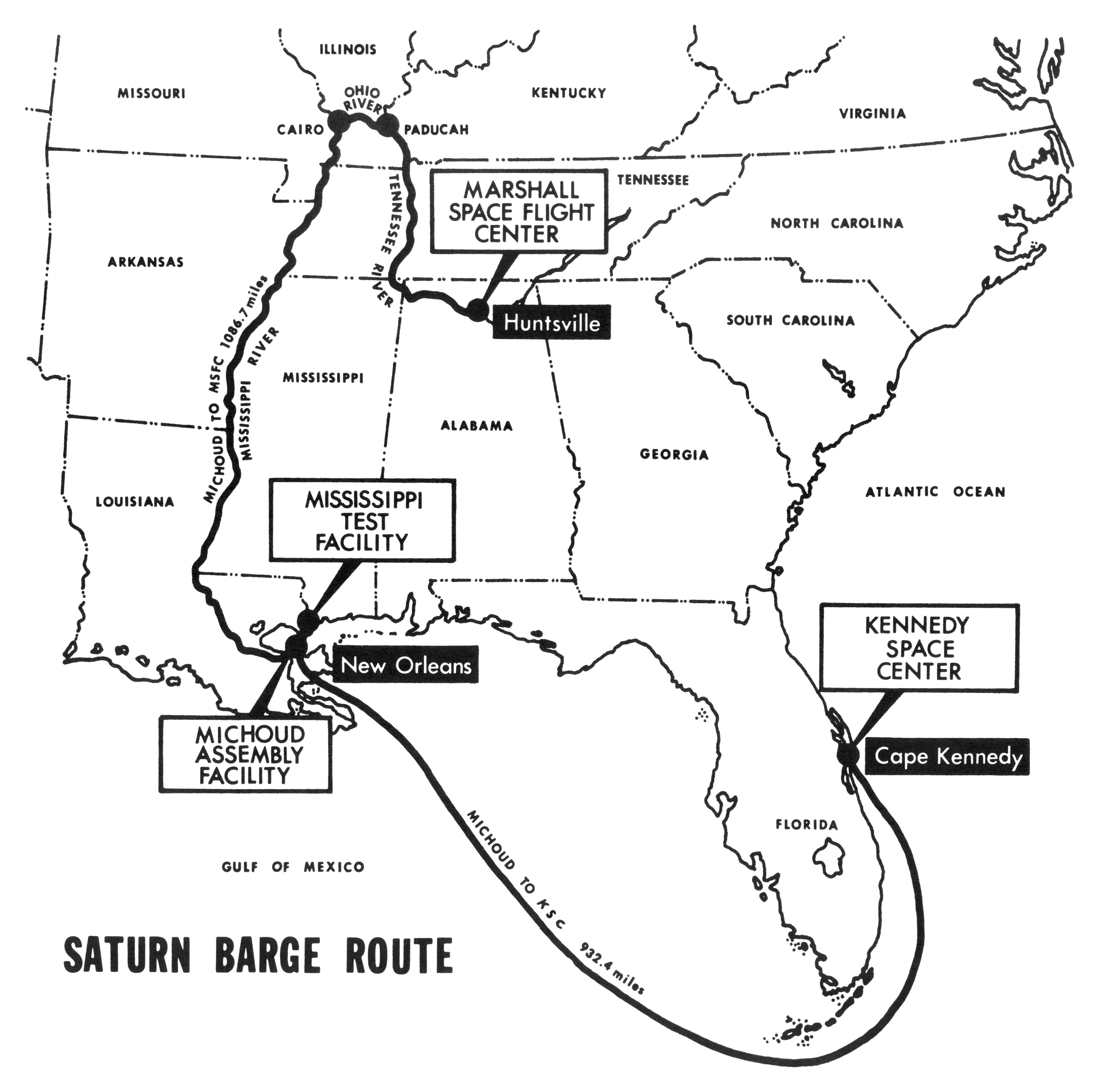 saturn barge routes - marshall space flight center msfc mississippi test facility mtf stennismichoud assembly facility maf kennedy space