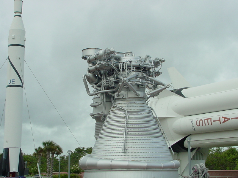 F-1 engine mockup FM-103 at Kennedy Space Center KSC twin-elbow LOX 	dome inlet