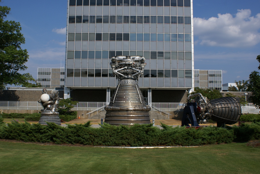 Marshall Space Flight Center rocket engine display at Building 4200 in     2013
