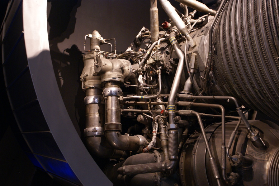 F-1 engine F-1001 at National Air and Space Museum NASM showing 	flexible internally tied high-pressure ducts