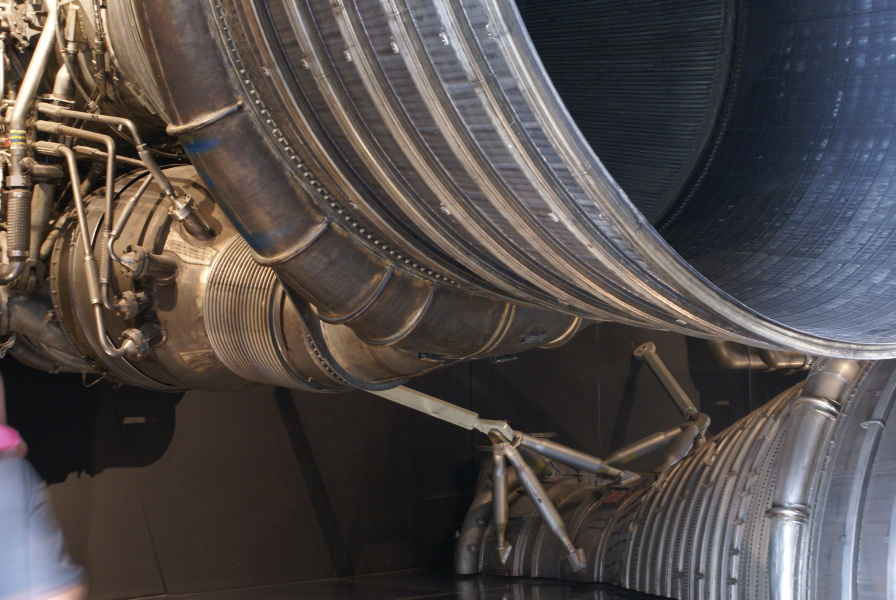 F-1 engine F-1001 at National Air and Space Museum NASM showing 	turbine exhaust manifold
